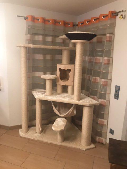 Katzenbaum massiv, Kratzbaum individuell angefertigt nach Kundenwunsch mir großer Holzhöhle, Ufo sowie Korb