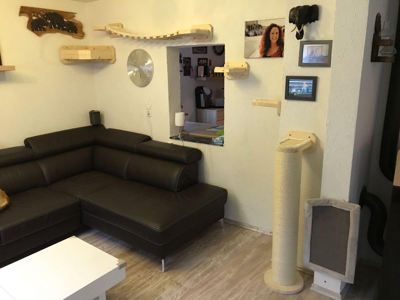 kletterlandschaft f r katzen wandkratzbaum liegemulde f r die wand catwalk h ngebr cke. Black Bedroom Furniture Sets. Home Design Ideas